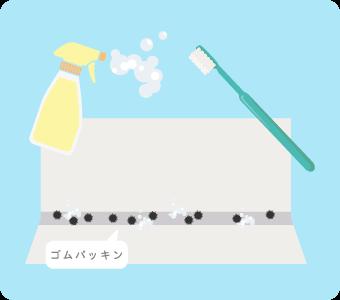 お風呂のゴムパッキンの汚れを落とす