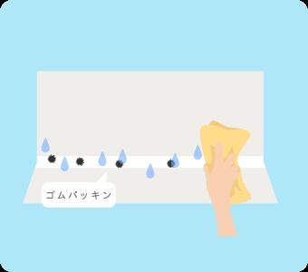 お風呂のゴムパッキンについた水分を拭き取る
