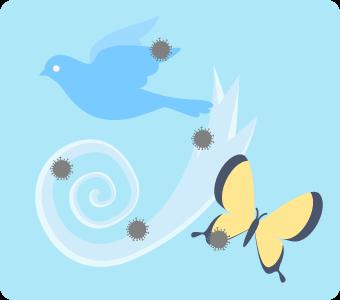 鳥や昆虫、風